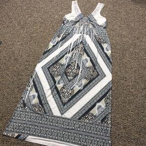 White, Black & Cream Patterned Maxi Dress
